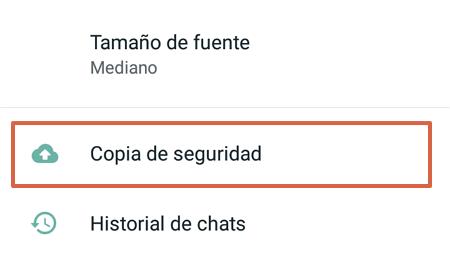 Cómo realizar una copia de seguridad en WhatsApp paso 4