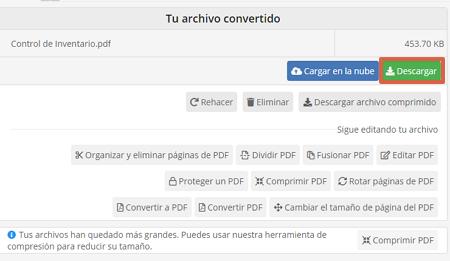 Cómo utilizar PDF2Go para convertir un archivo de Excel a PDF paso 5