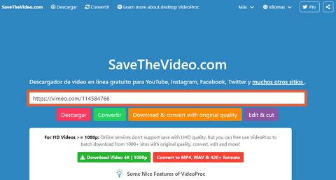 Cómo utilizar Savethevideo.com para descargar un video de Vimeo paso 2