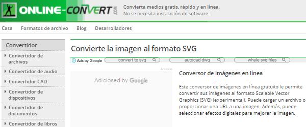 Cómo vectorizar imágenes online con Online-convert