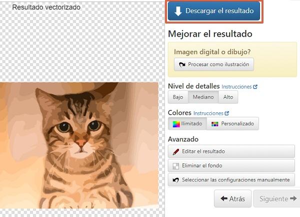 Cómo vectorizar imágenes online utilizando Vector Magic Paso 5