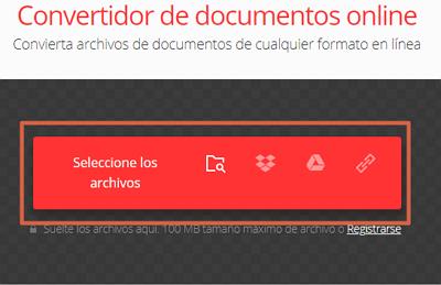 Convertir un documento Word en JPEG o PNG online gratis con Convertio paso 1