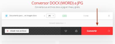 Convertir un documento Word en JPEG o PNG online gratis con Convertio paso 4