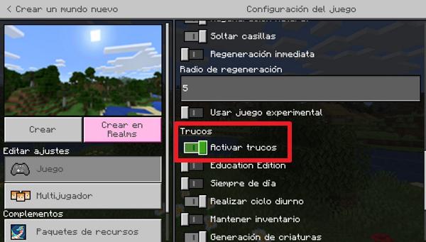 Activar trucos en Minecraft