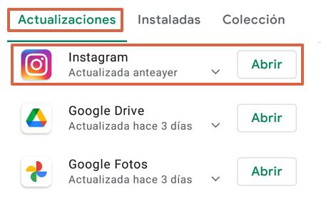Cómo actualizar Instagram a la última versión en dispositivos Android paso 4