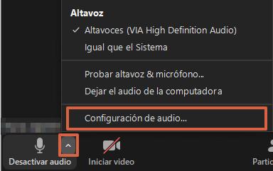 Cómo comprobar el volúmen del micrófono durante una videollamada en Zoom paso 2