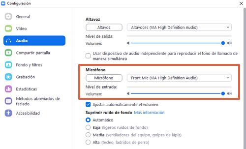 Cómo comprobar el volúmen del micrófono durante una videollamada en Zoom paso 3