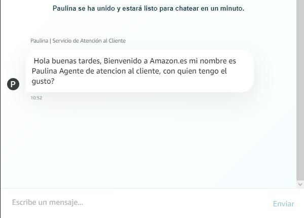 Cómo contactar con Amazon desde su chat en línea