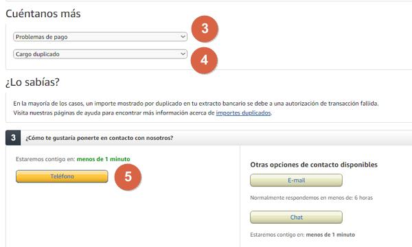 Cómo contactar con Amazon desde una llamada teléfonico paso 5