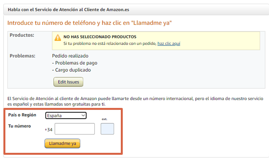 Cómo contactar con Amazon desde una llamada teléfonico paso 6