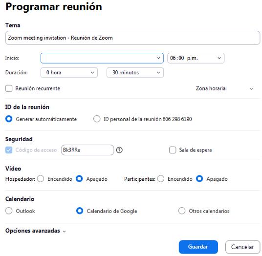 Cómo crear o programar reuniones en Zoom Desde la app Paso 4