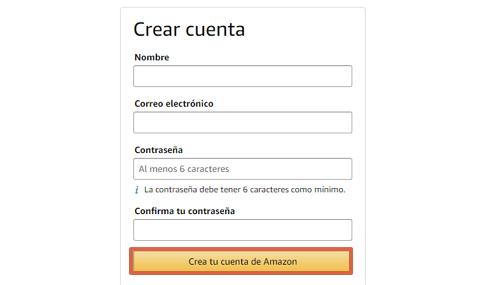 Cómo crear una cuenta en Amazon paso 2