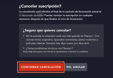Cómo dar de baja o cancelar la suscripción a Disney Plus desde su página web paso 6