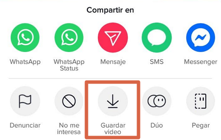 Cómo descargar videos de TikTok al celular desde la misma aplicación paso 4
