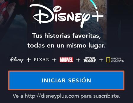 Cómo ingresar o iniciar sesión en Disney Plus desde la aplicación para Smartphones paso 2