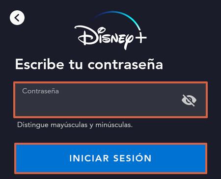 Cómo ingresar o iniciar sesión en Disney Plus desde la aplicación para Smartphones paso 4