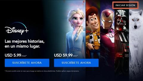 Cómo ingresar o iniciar sesión en Disney Plus desde la página web paso 2