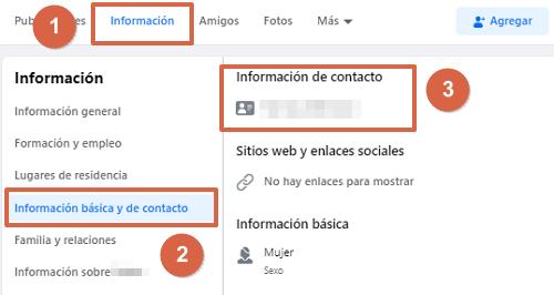 Cómo saber el número de celular de una persona usando Facebook pasos 1, 2 y 3