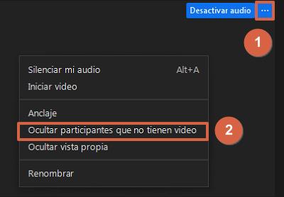 Ocultar participantes que no tienen video de la vista de galeria paso 1 y 2