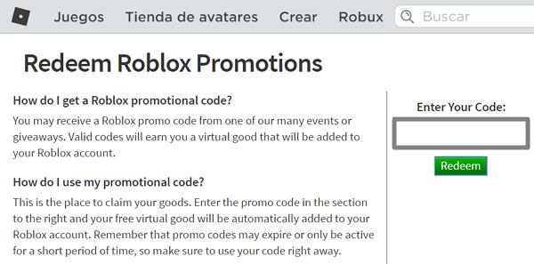 Promocode roblox