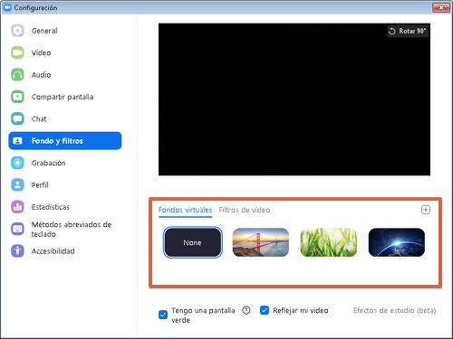Utilizar fondos y filtros de Zoom paso 3
