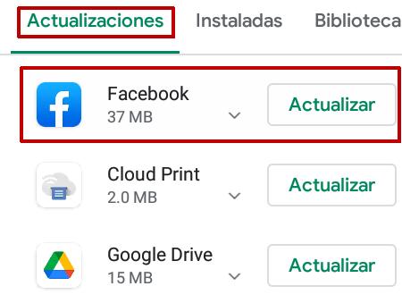 Actualizar Facebook en Android Paso 4