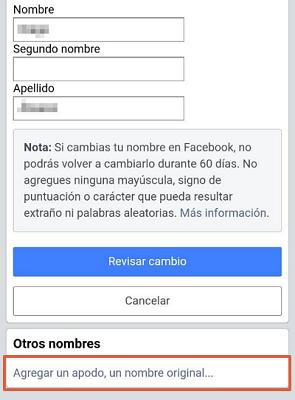 Agregar otro nombre en Facebook desde la App Paso 3
