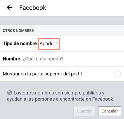 Agregar otro nombre en Facebook desde la App Paso 4