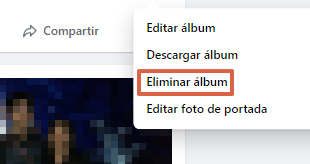 Borrar album de Facebook desde la versión Web paso 2