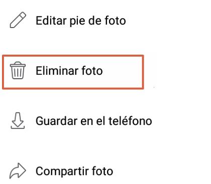 Borrar fotos de Facebook desde el móvil en la App oficial paso 2