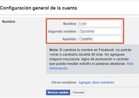 Cambiar nombre en Facebook desde la versión web Paso 1