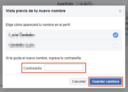 Cambiar nombre en Facebook desde la versión web Paso 2