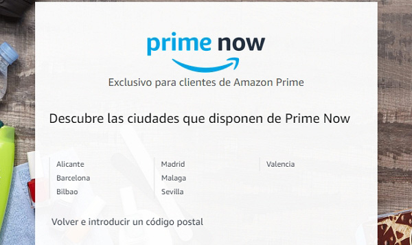 Ciudades que disponen de Amazon Prime Now en España