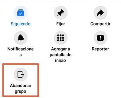 Cómo abandonar un grupo de Facebook desde un dispositivo móvil paso 5