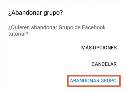 Cómo abandonar un grupo de Facebook desde un dispositivo móvil paso 6