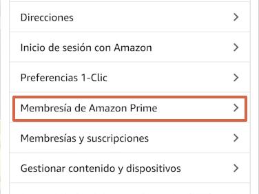 Cómo cancelar la suscripción de Amazon Prime y darte de baja desde la app paso 5