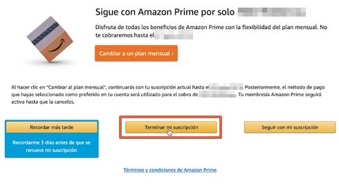 Cómo cancelar la suscripción de Amazon Prime y darte de baja desde la computadora paso 7