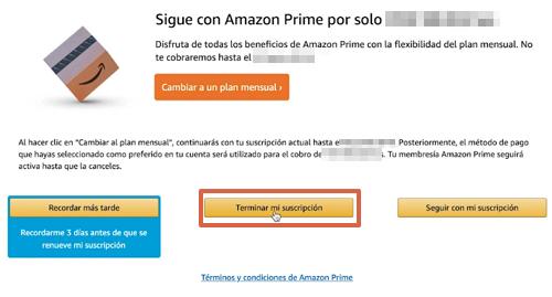 Cómo cancelar tu suscripción a Amazon Prime paso 7