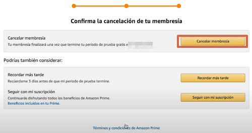 Cómo cancelar tu suscripción a Amazon Prime paso 8