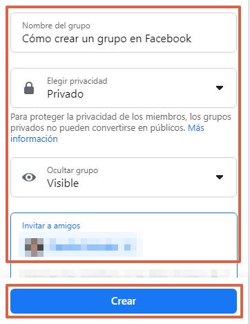 Cómo crear un grupo en Facebook desde su página web paso 4
