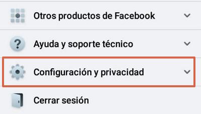 Cómo desconectar o desvincular una cuenta de Instagram con Facebook desde la aplicación Facebook paso 2