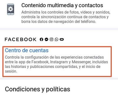 Cómo desconectar o desvincular una cuenta de Instagram con Facebook desde la aplicación Facebook paso 4
