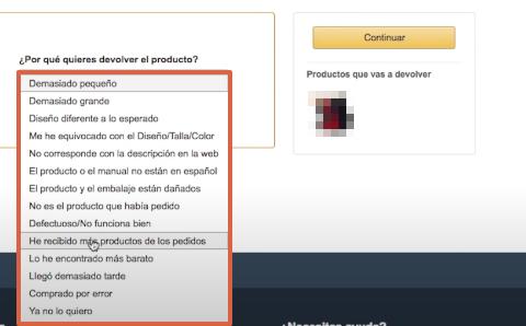 Cómo devolver un producto o pedido en Amazon paso 6