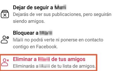 Cómo eliminar a alguien de tu lista de amigos de Facebook desde el celular paso 6