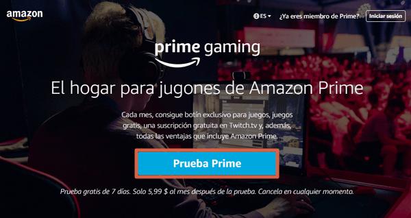 Cómo obtener una suscripción gratuita a través de Prime Gaming paso 1