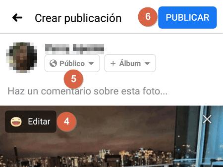 Cómo publicar fotos, imágenes o videos en Facebook desde la app oficial paso 6