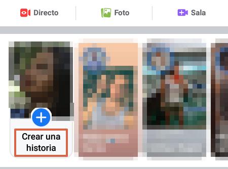 Cómo publicar historias en Facebook desde la app oficial paso 1