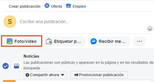 Cómo realizar publicaciones desde una página de Facebook paso 4