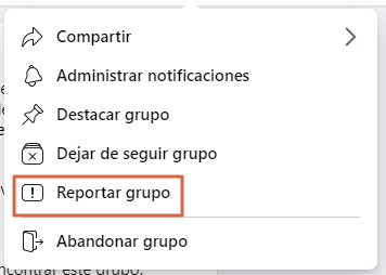 Cómo reportar un grupo de Facebook