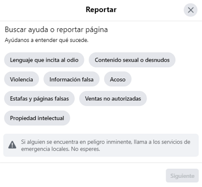 Cómo reportar una página en Facebook paso 3